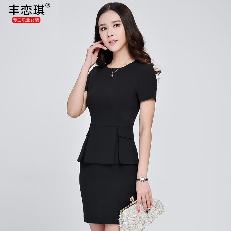 Feng qi love 2016 summer short sleeve dresses women wear suits hotel uniforms studio interview tooling equipment