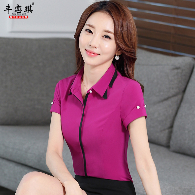 Feng qi love 2016 summer short sleeve shirt ol career suits ladies fashion wear overalls teachers with front shirt