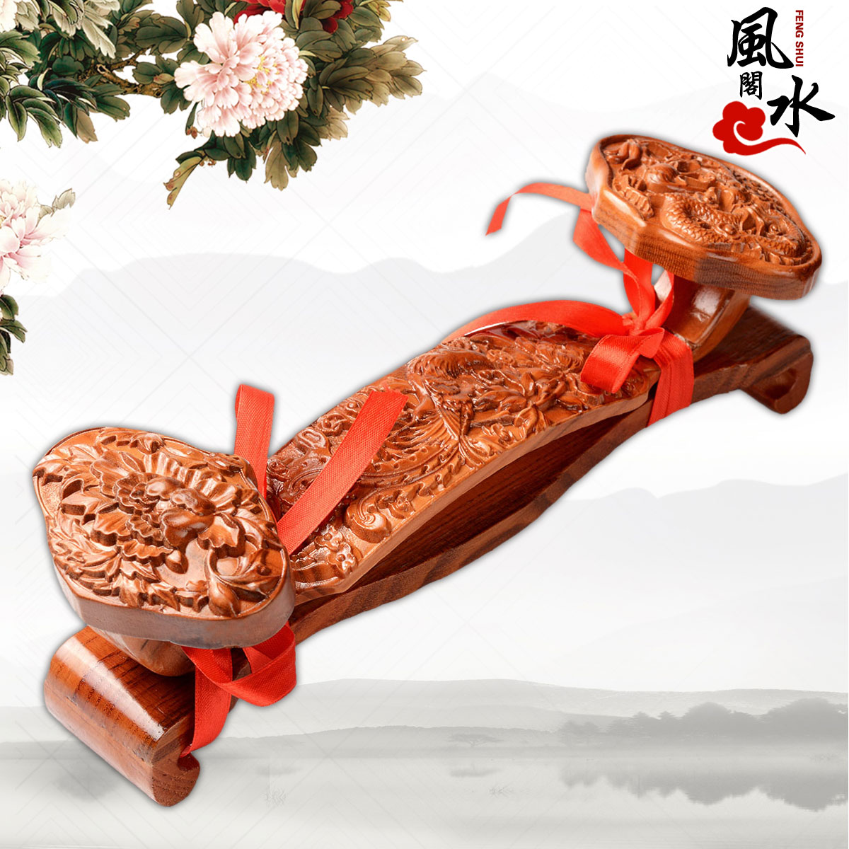 Feng shui court natural mahogany wishful dragon and phoenix chi title unicorn ornaments wood carving crafts home feng shui ornaments