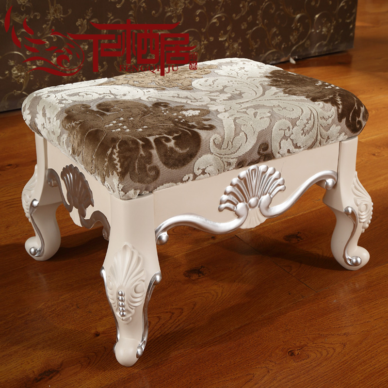 Fengqi ranking european small stool wood fabric sofa stool stool changing his shoes stool coffee table side carved depiction of french silver