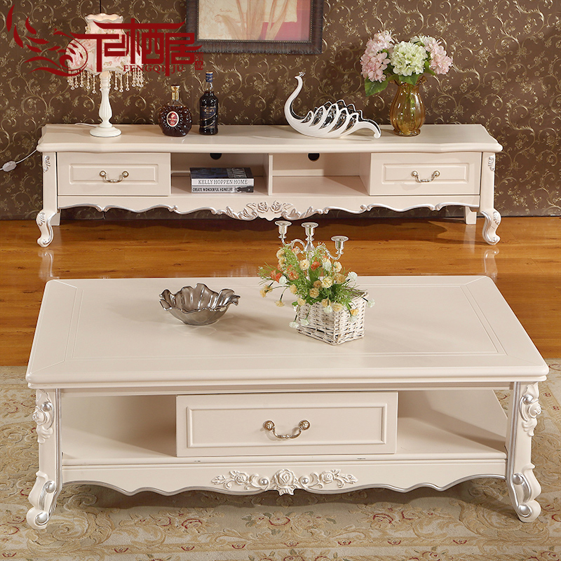 Fengqi ranking european wood carved marble coffee table tv cabinet combination packages law style living room furniture