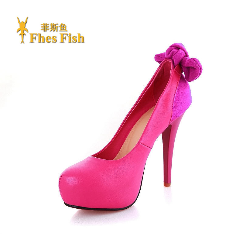 Fhesfish fez fish 2016 spring and summer new high heels fine with single shoes waterproof shoes bow round