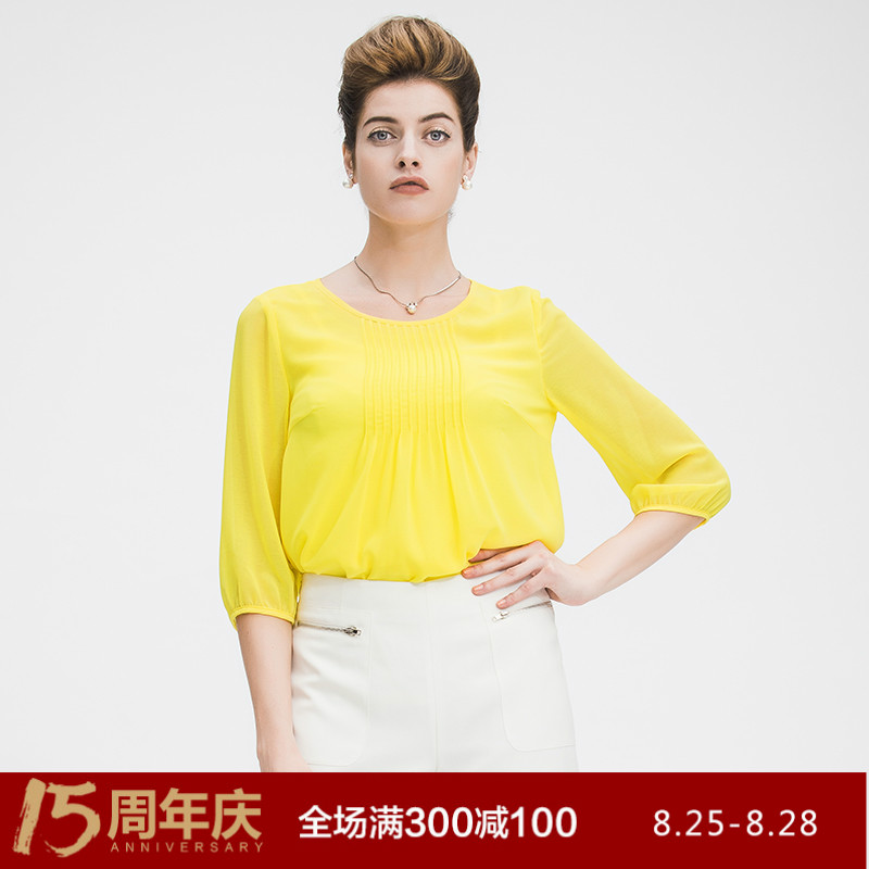 Fiber mai 2016 autumn new fat mm fertilizer to increase size women accordion pleats wheat thousand snow spinning t-shirt discounted