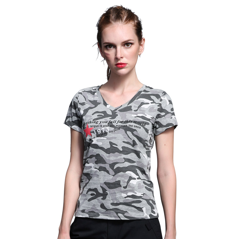 Field set on women's clothes cool summer cotton t-shirt sleeve v-neck women korean fan slim short sleeve camouflage t-shirt