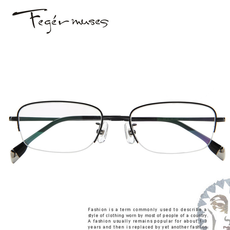 Figueroa mousse 81721 radiation half frame titanium glasses frame business myopia optical glasses frame male