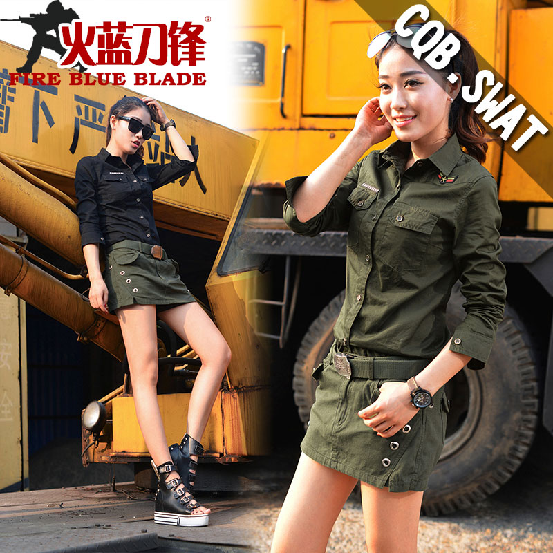 Fire blue blade spring and summer casual short skirt package hip culottes female army green shorts was thin female overalls pocket more