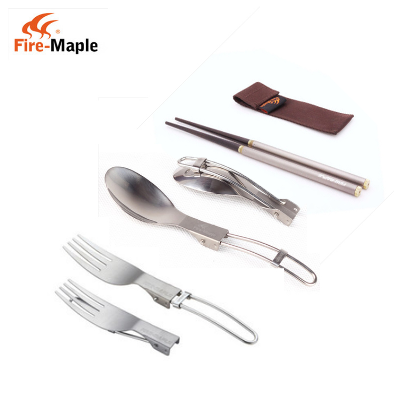 Fire maple outdoor camping folding picnic tableware t10/12/13/15/17 lightweight titanium spoon fork chopsticks portable