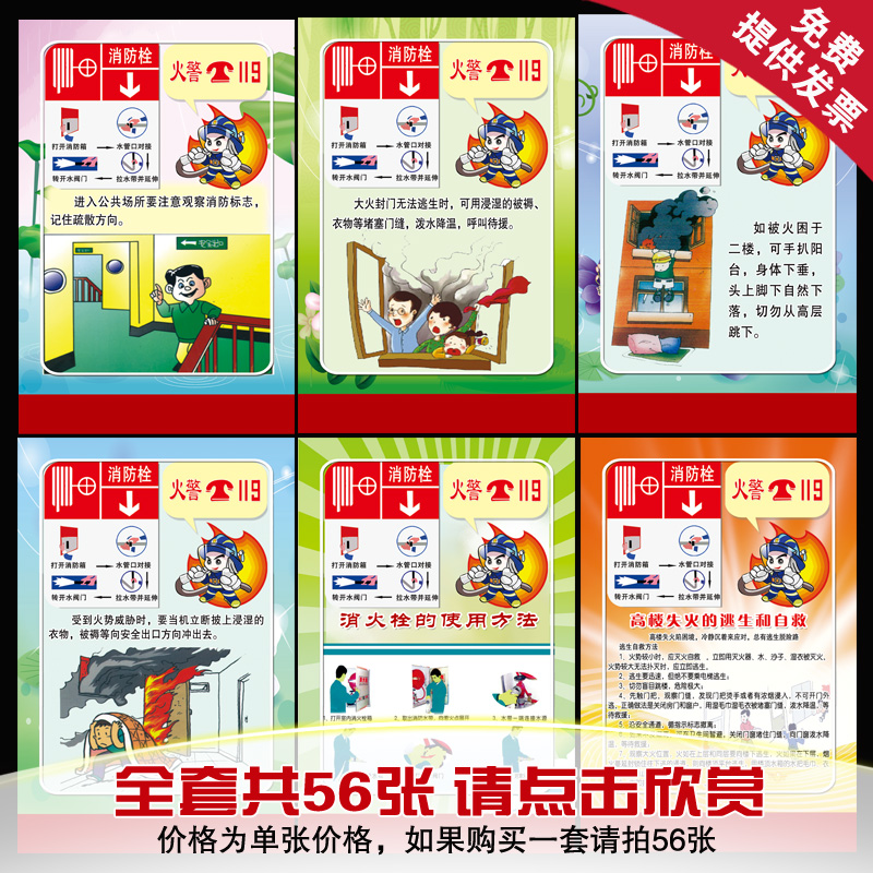 Fire safety knowledge flipchart safety knowledge of fire safety education posters campus culture wall stickers
