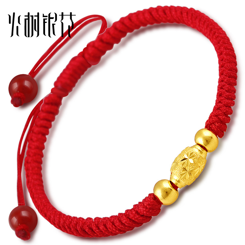 Fireworks gold transfer beads gold bracelet gold jewelry red string natal male and female models
