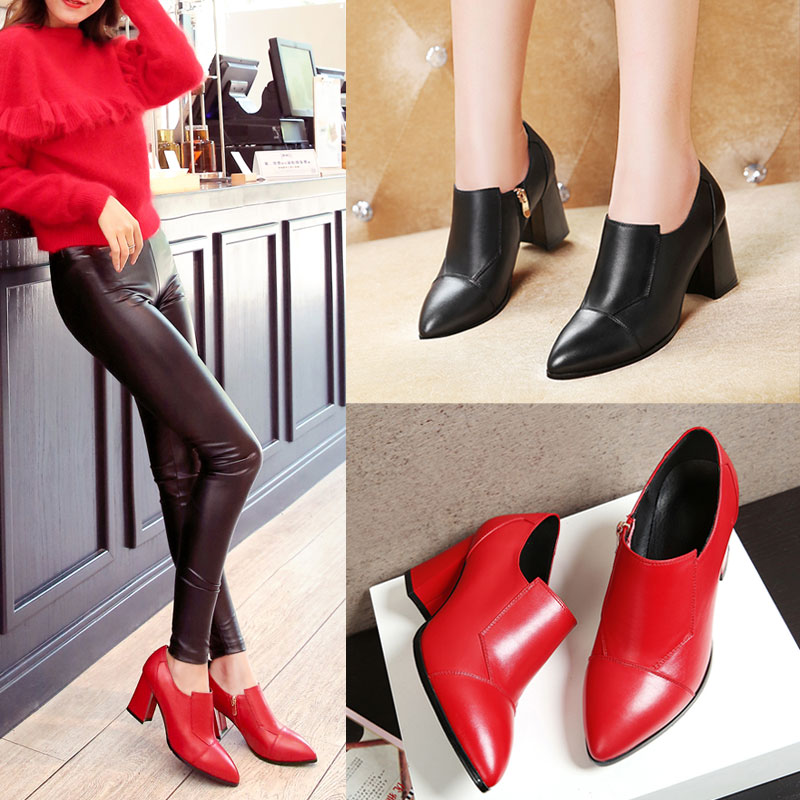 First layer of leather full leather shoes 2016 new fall shoes women shoes 40 yards thick with red wedding shoes high heels shoes 33