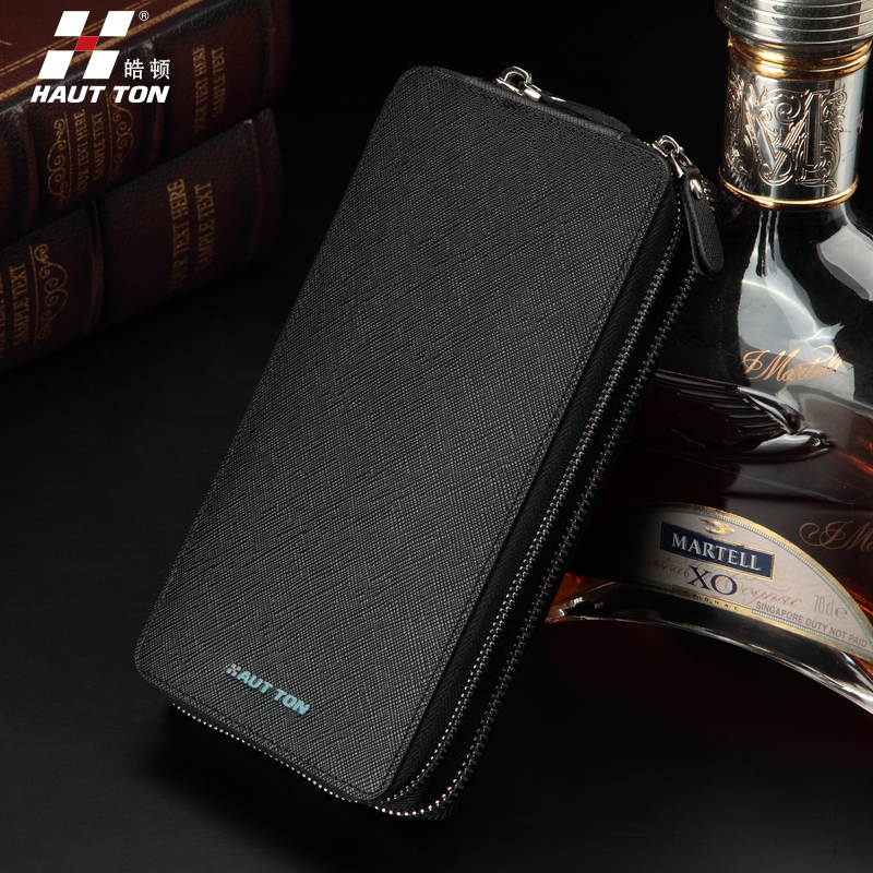 First layer of leather men's leather clutch handbag clutch bag large capacity double zipper men's long wallet wallet korean version of the influx of commerce