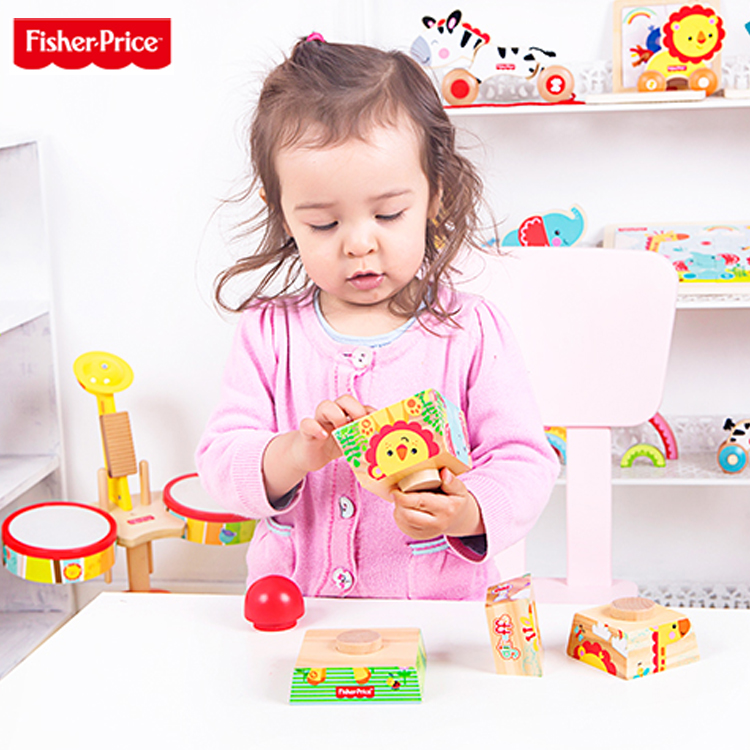 Fisher piles tower piles of stacked layers of music blocks wooden play family early childhood educational children's toy building blocks free shipping