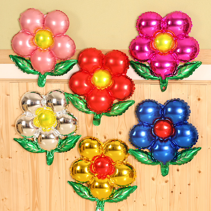 Five flower backdrop balloon aluminum balloons birthday party wedding window decorated and furnished nursery school
