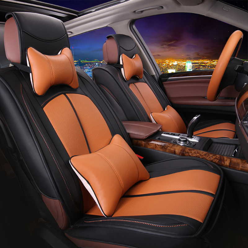 Five single seat cushion car seat cushion four seasons whole package pu leather fashion simple office chair cushion seat five jetta