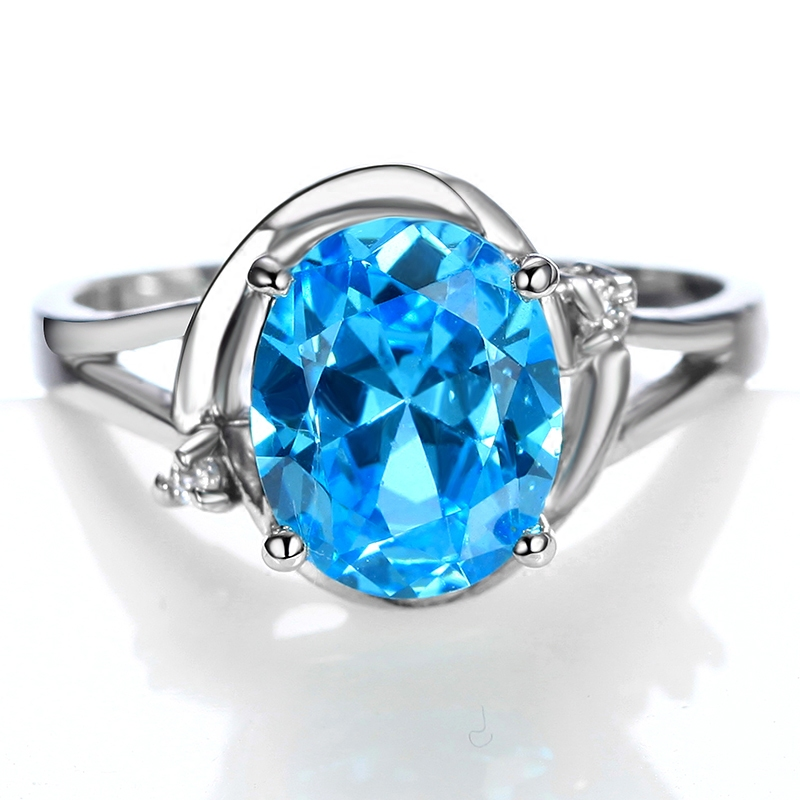 Flammable volcano blue synthetic zircon crystal ring female european and american fashion luxury temperament middle finger ring jewelry