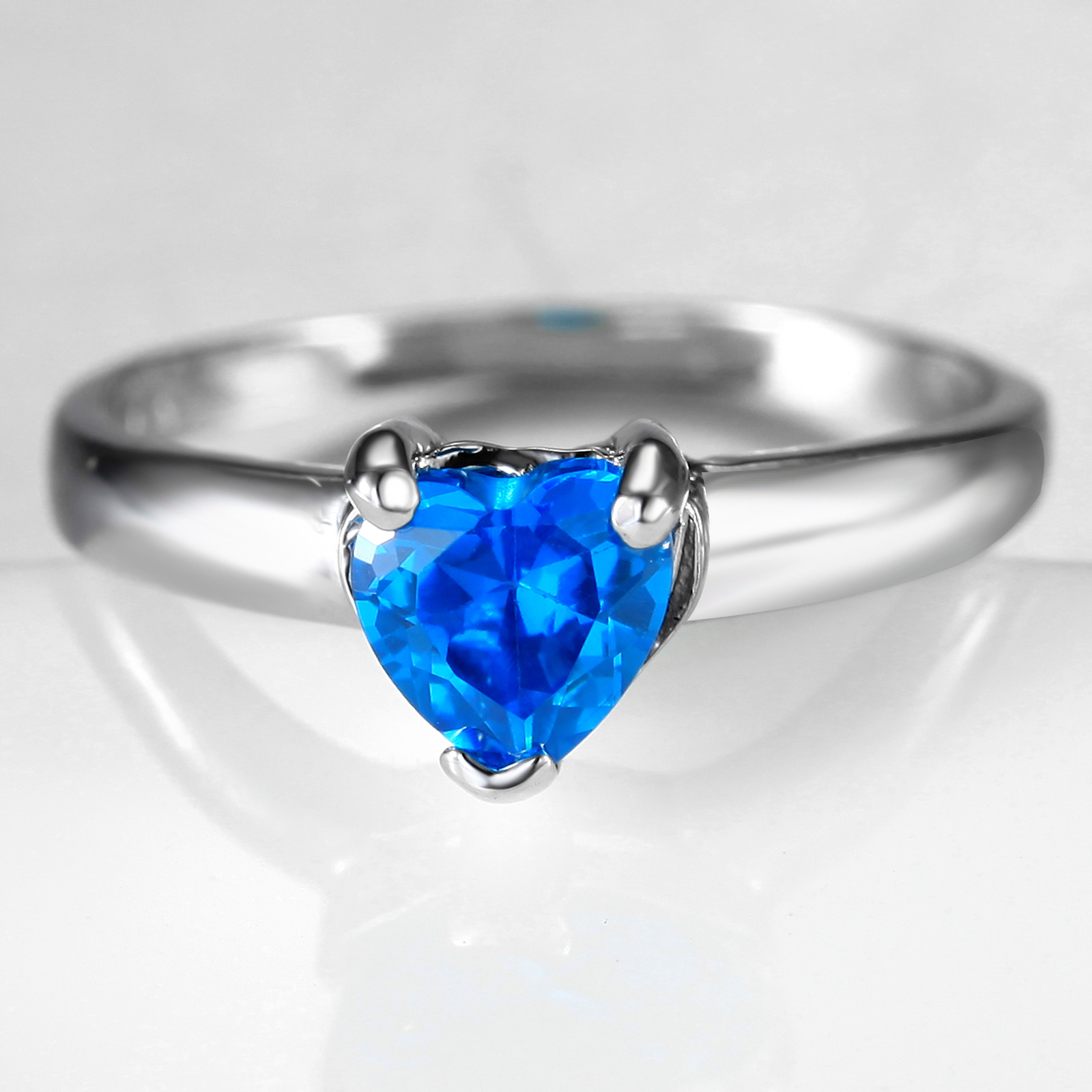 Flammable volcano heart blue crystal ring female korean influx of women fashion synthetic crystal finger ring zircon jewelry