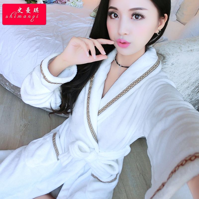 Flannel nightgown female winter cute couple coral velvet robe bathrobe longer pajamas tracksuit female autumn plus thick