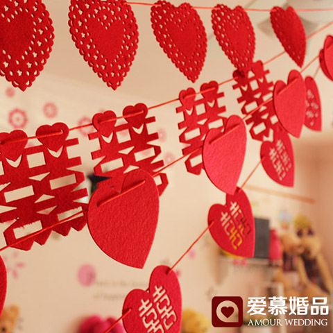 Flannel wovens garland chinese wedding wedding marriage room layout and decorative ornaments creative love heart hi hi word wedding supplies