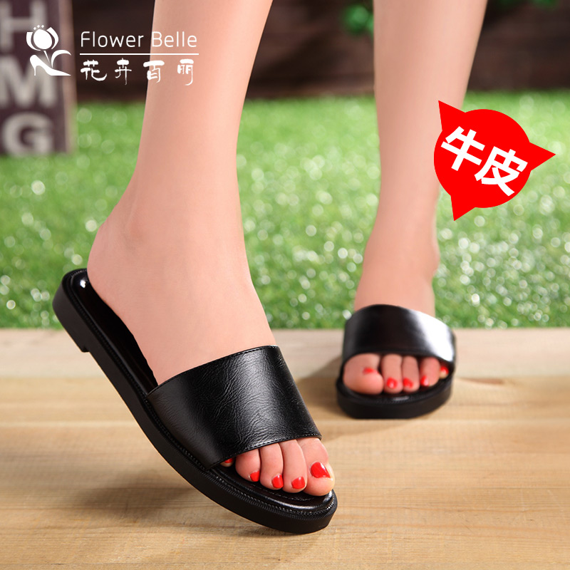 Flower belle shu korean version of the new leather sandals and slippers female summer fashion flat sandals female flat with flat sandals and slippers female foot