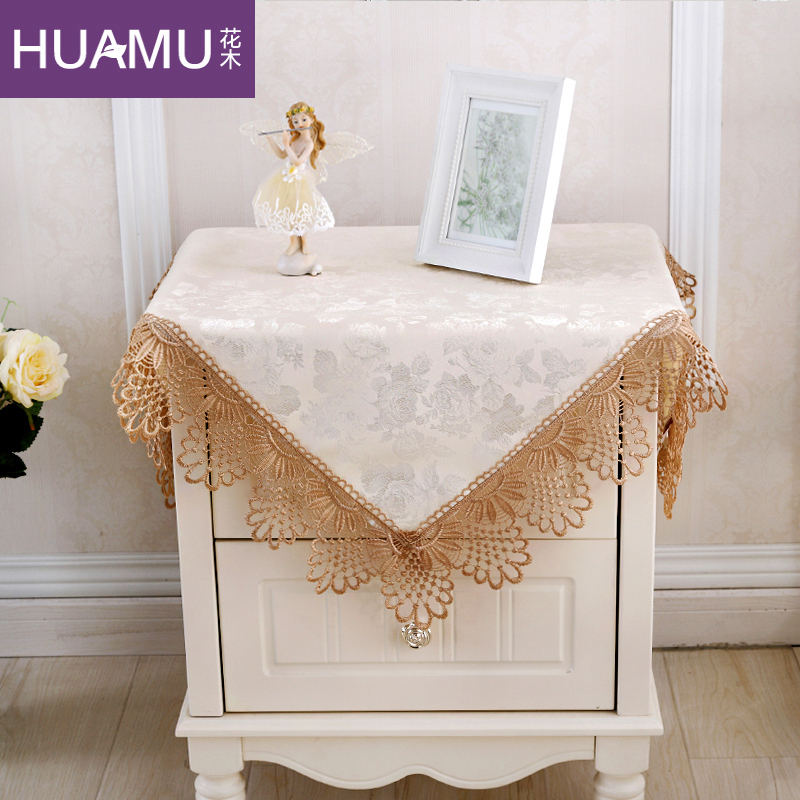 Flowers and lace european minimalist bedside cabinet bedside cabinet cover refrigerator air conditioning tv cloth cover small tablecloth cover towel multi