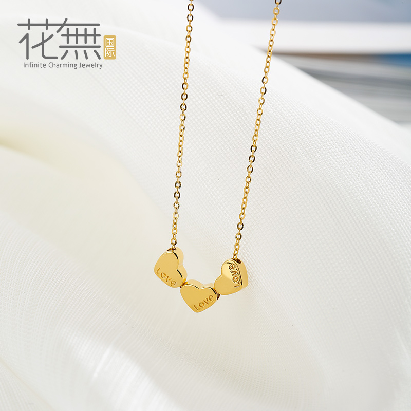 Flowers without international k gold necklace female love gold pendant necklace female clavicle chain necklace korea