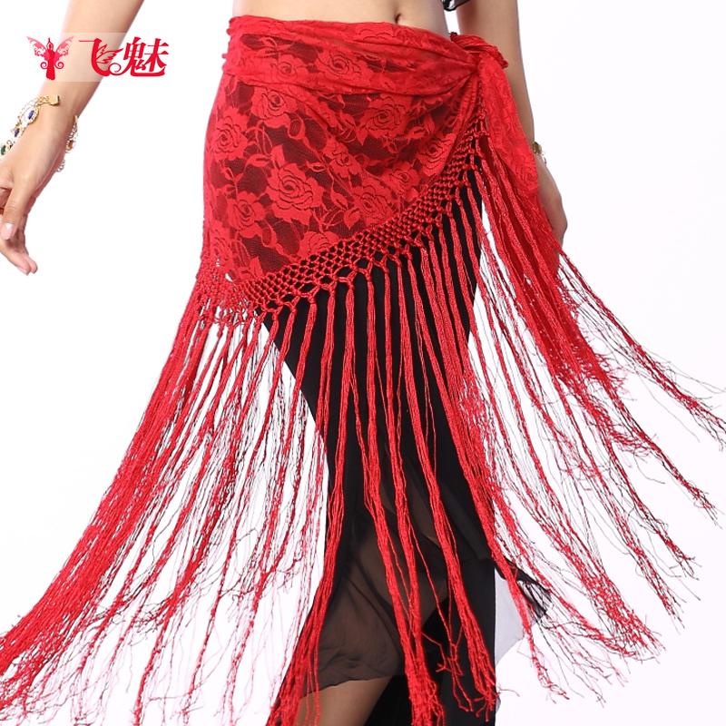 Fly charm new belly dance waist chain belly dance belly dance lace long tassel yao jin belly dance hip towel fringed triangle
