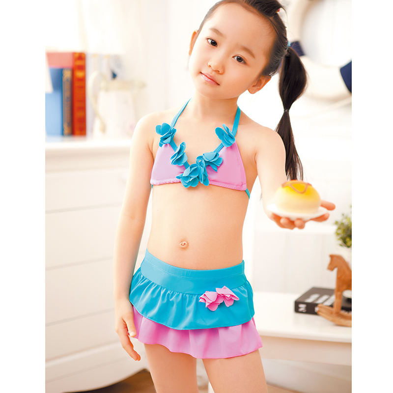 dc1ec634f8 Get Quotations · Fly girls child baby girl bikini swimsuit split skirt  small children lovely princess summer swimwear