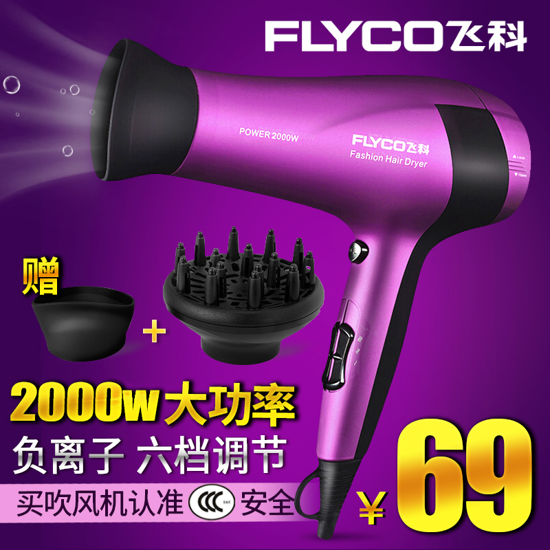 Flying branch hairdryer 2000W flying branch hair dryer professional salon hair dryer hot and cold wind power does not hurt hair free shipping