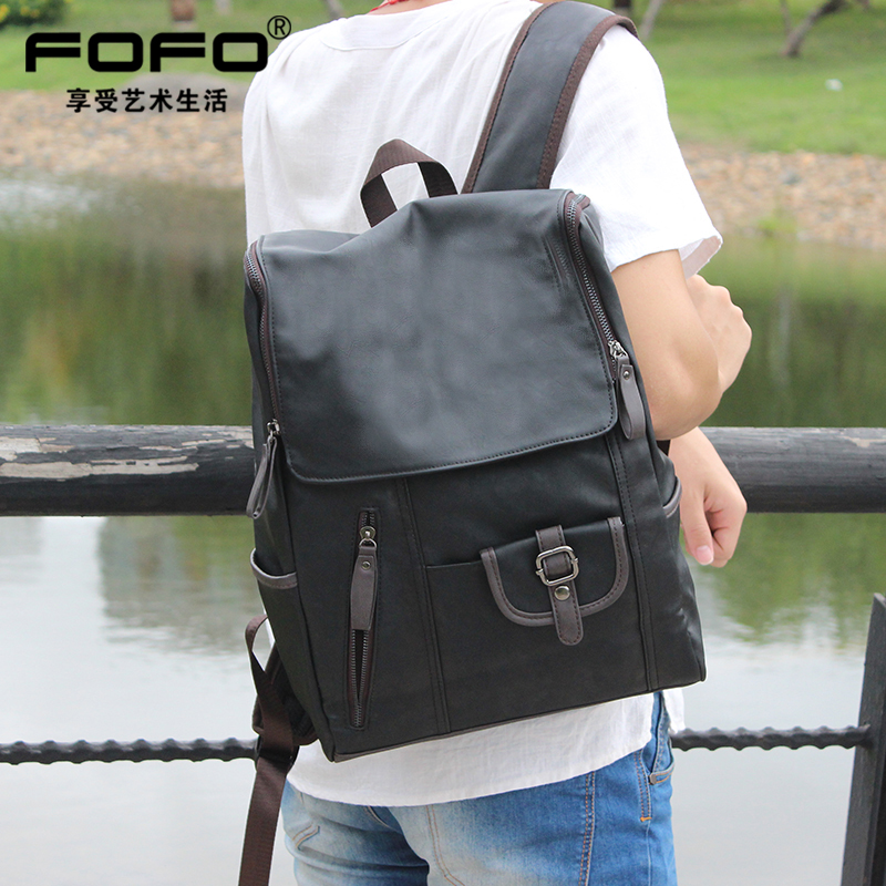 Fofo male korean male fashion trend backpack shoulder bag men college students high school students bag leisure travel bag