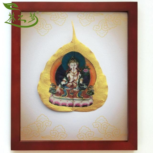 Forest dream l # gold bodhi leaf vein painting decorative painting white tara buddha longevity red wood color pine frame creative