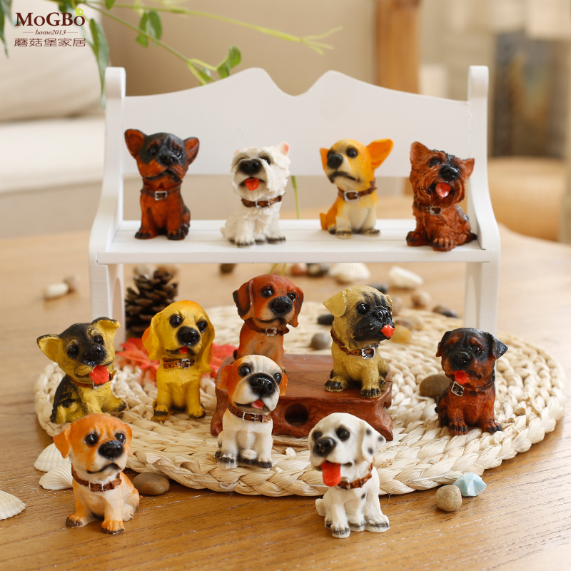 Fort mushrooms zakka groceries 12 dog dog simulation animal resin crafts ornaments tree resin ornaments birthday