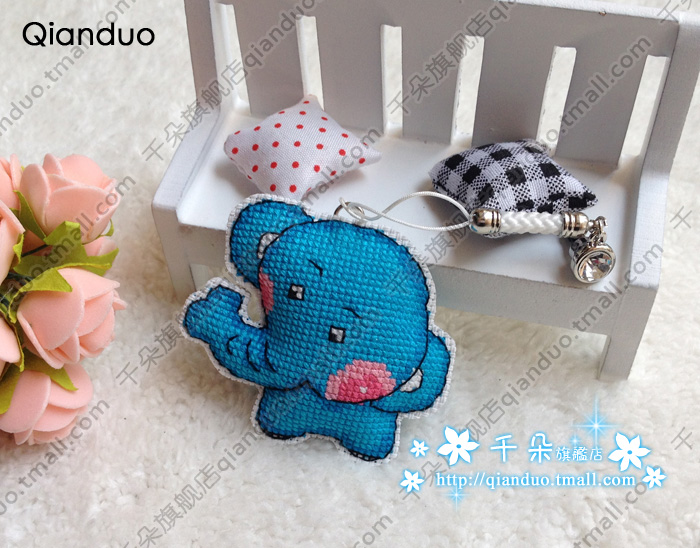 France dmc cross stitch dust plug phone pendant mobile phone pendant super meng cute little blue elephant sided embroidery
