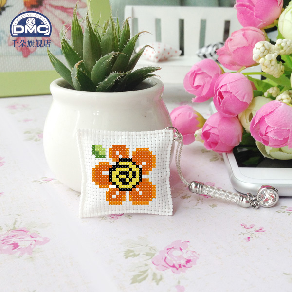 France dmc cross stitch embroidery sided dust plug phone pendant jade meter of rope keychain kit for flowers
