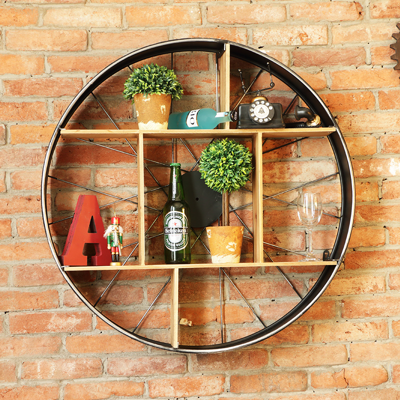 France mu town industrial loft style wrought iron wall hanging wall wine rack retro american restaurant bar decorations