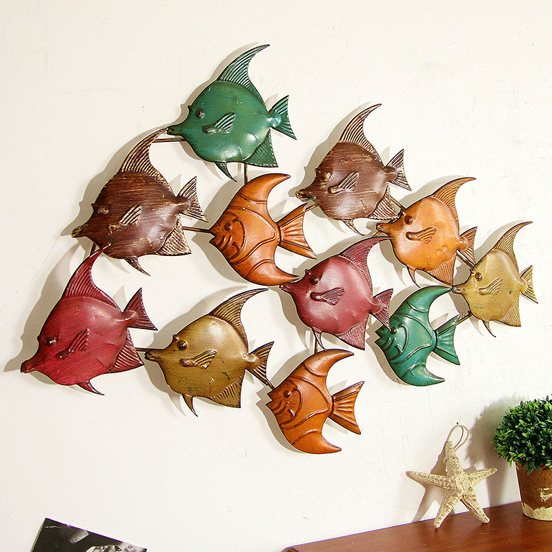 France mu town retro animal hanging wrought iron ornaments creative home living room dining 3d fish wall hangings