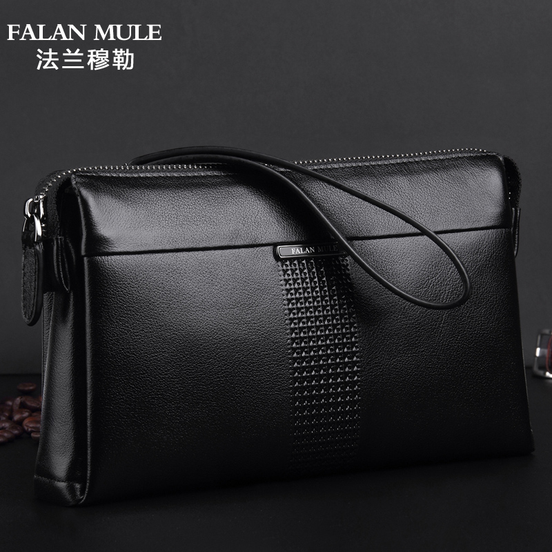 Franck muller men's leather handbag soft leather clutch bag korean version of the first layer of leather business clutch bag large capacity