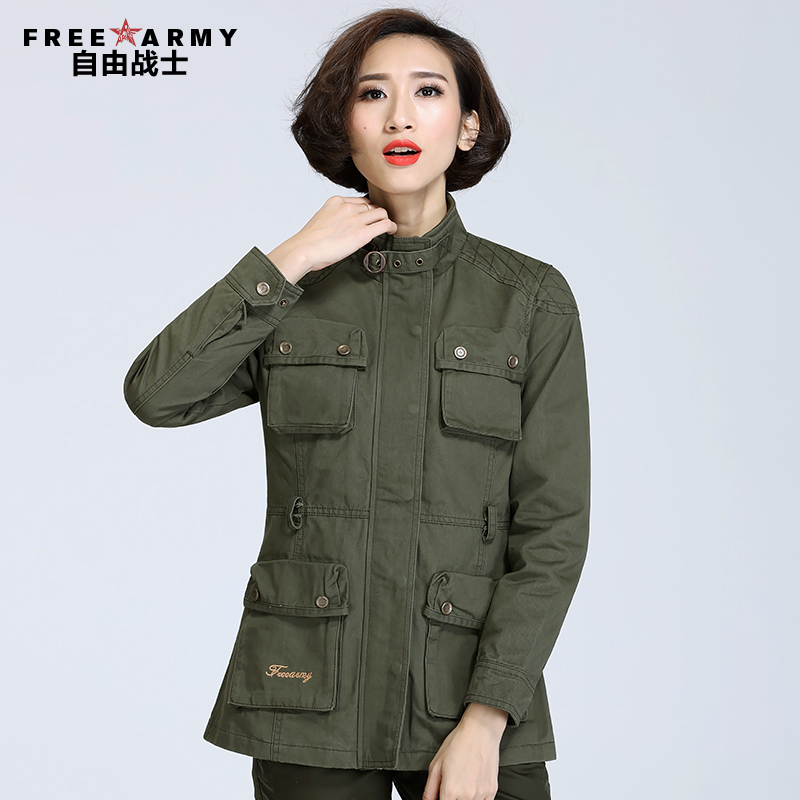 Free collar slim women windbreaker jacket female spring and long sections army army brigade wind coat jacket bags