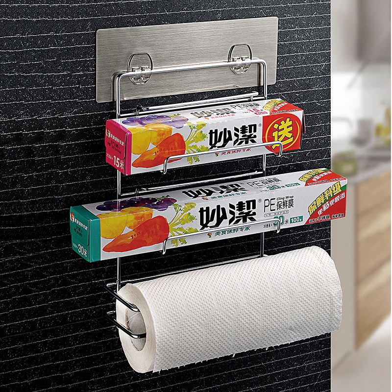 Free installation of kitchen and bathroom double celebration vacuum suction wall hook trace wrap storage rack towel rack 5005