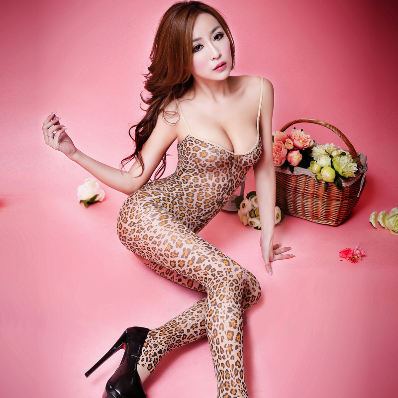 Free off sexy lingerie large size women sexy open crotch piece coveralls socks stockings uniform temptation chest a leopard