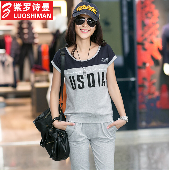 Free shipping 2016 summer new large size women fat mm korean short sleeve t-shirt pant leisure suit sports suit tide