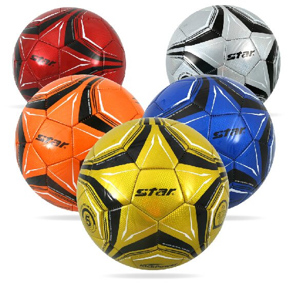 Free shipping authentic star world of soccer ball on 5 machine sewing pvc colored football training teaching SB8605