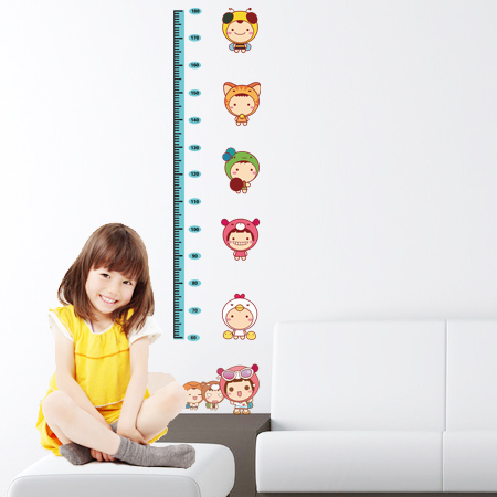 Free shipping children's room wall stickers nursery cartoon stickers measuring height stickers foot tall wall stickers removable wall stickers kawaii