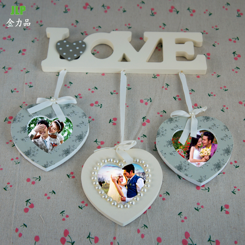 Free shipping children's wedding photo frame wall creative photo frame picture frame ornaments decorations love heart shaped triple combination photo frame