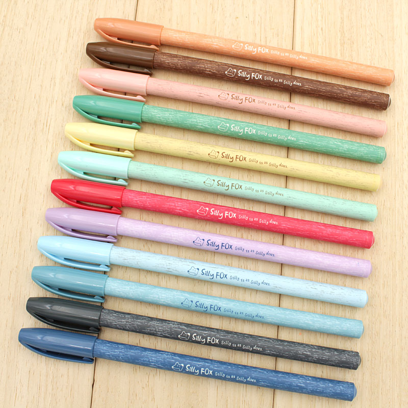 Free shipping dawn colored gel pen 0.35 color pen 12 color suit notes with 0.38 korea creative