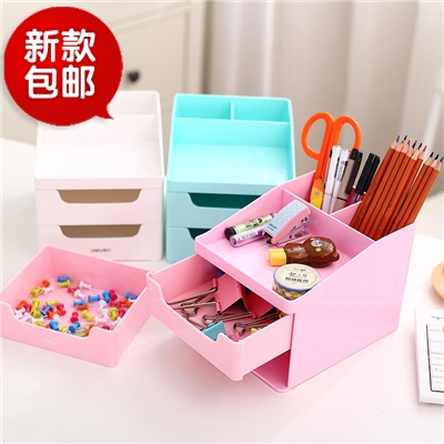 Free shipping deli 8900/01 desktop storage box drawer storage cabinets lockers desktop finishing dressing box penholder