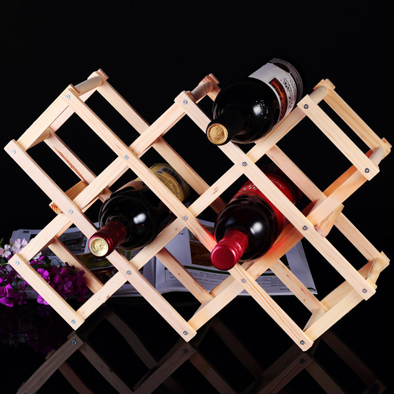 Free shipping european solid wood folding wine rack creative wall wine rack at home more than bottled