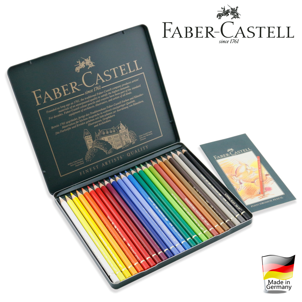 Free shipping germany imported green tin faber delineators oily colored pencils 24 color 24 color oil color of lead