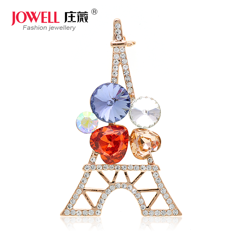 Free shipping jewelry accessories female suit new fashion alloy rhinestone brooch pin brooch korean version of the eiffel tower 400