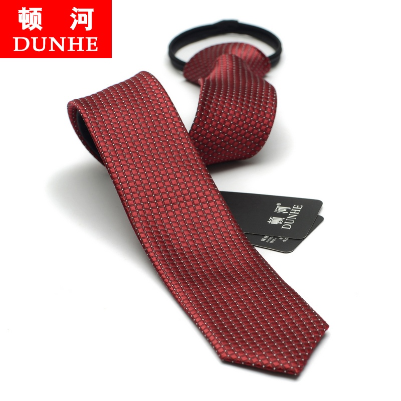 Free shipping korean version of the influx of men narrow tie small tie wedding groom tie easy to pull zipper pull 5 cm