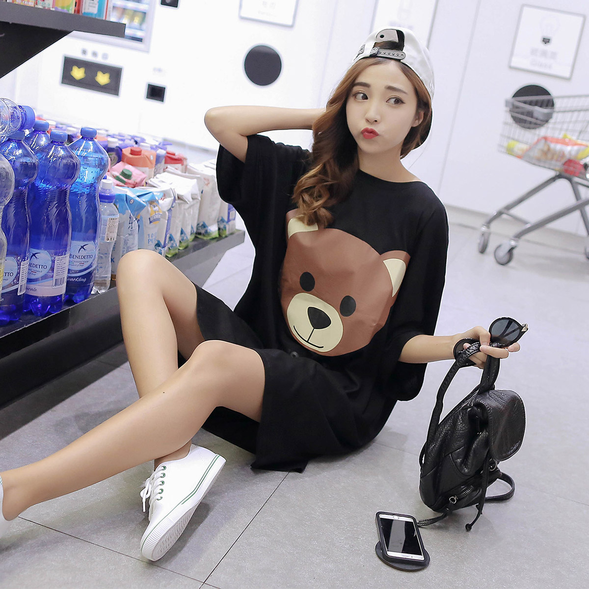 Free shipping korean version of the summer super loose big yards long section of bear casual bat sleeve short sleeve t compassionate ladies cotton skirt